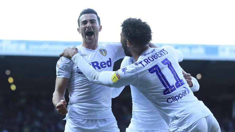 Leeds United's Jack Harrison celebrates scoring the first goal of the game at Elland Road