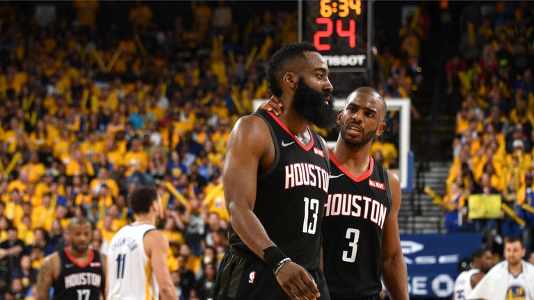 526988355 Image  James Harden criticised the quality of the officiating following  Houston Rockets  100-104 loss to Golden State Warriors in Game 1 on Sunday