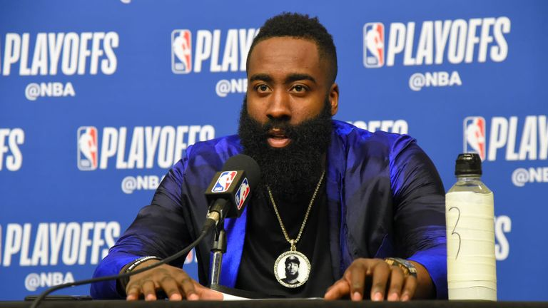 ames Harden of the Houston Rockets speaks to the media after Game Two of Round One of the 2019 NBA Playoffs against the Utah Jazz