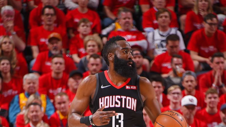 James Harden #13 of the Houston Rockets handles the ball during the game against the Utah Jazz during Game Three of Round One of the 2019 NBA Playoffs on April 20, 2019 at the Vivint Smart Home Arena in Salt Lake City, Utah.