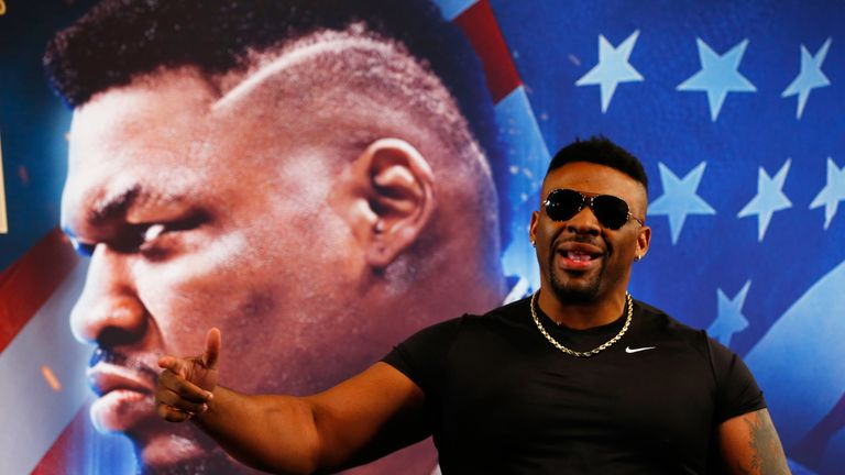 Anthony Joshua  Jarrell Miller speak to the media during a Press Conference at Madison Square Garden on February 19, 2019 in New York City.