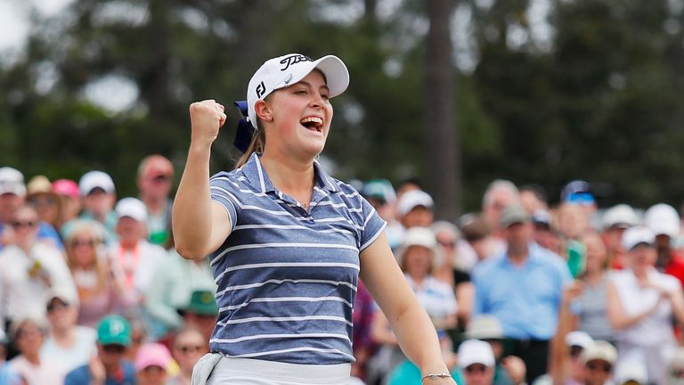 Jennifer Kupcho celebrates her victory at the Augusta National Women's Amateur