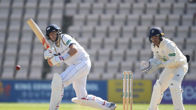 Joe Root was dismissed for 94, bowled by Liam Dawson