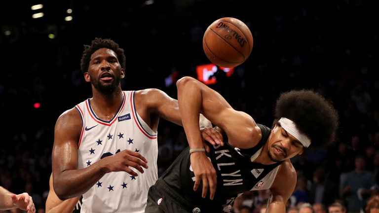 Joel Embiid was given a flagrant foul for his shove on Jared Allen