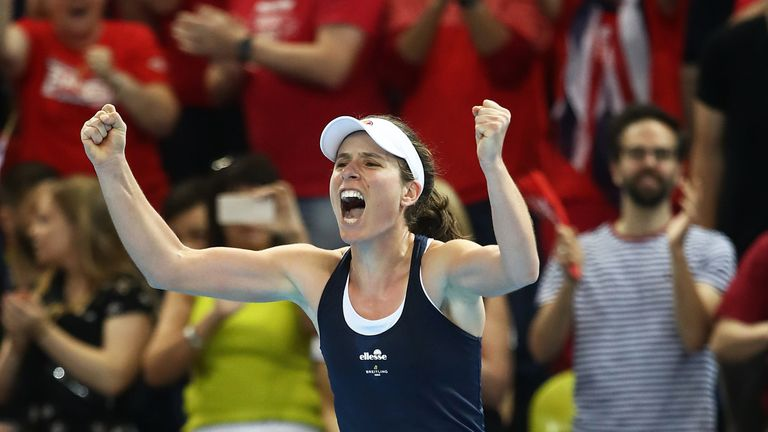 Johanna Konta of Great Britain celebrates at match after defeating Yulia Putintseva of Kazakhstan during the Fed Cup World Group II Play-Off match between Great Britain and Kazakhstan at Copper Box Arena on April 21, 2019 in London, England.