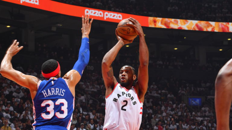 Kawhi Leonard #2 of the Toronto Raptors shoots the ball against the Philadelphia 76ers during Game One of the Eastern Conference Semi-Finals of the 2019 NBA Playoffs on April 27, 2019 at the Scotiabank Arena in Toronto, Ontario, Canada.