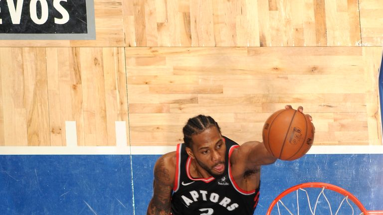 Kawhi Leonard #2 of the Toronto Raptors dunks against the Orlando Magic during Game Four of Round One of the 2019 NBA Playoffs on April 21, 2019.