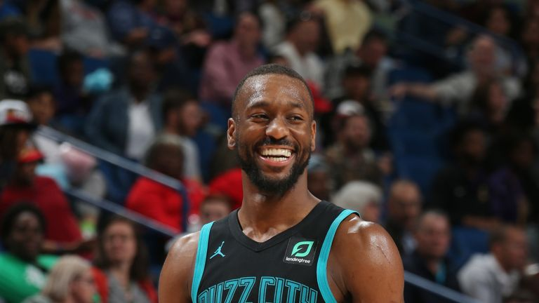 Kemba Walker #15 of the Charlotte Hornets smiles against the New Orleans Pelicans on April 3, 2019 at the Smoothie King Center in New Orleans, Louisiana.