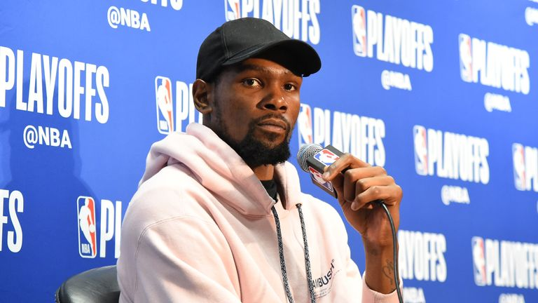 Kevin Durant of the Golden State Warriors speaks with the media after Game Three of Round One of the 2019 NBA Playoffs