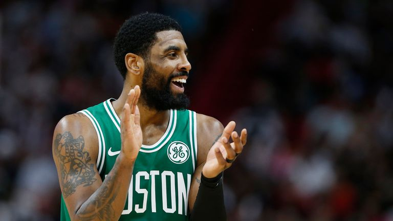 Kyrie Irving #11 of the Boston Celtics reacts against the Miami Heat during the second half at American Airlines Arena on April 03, 2019 in Miami, Florida.