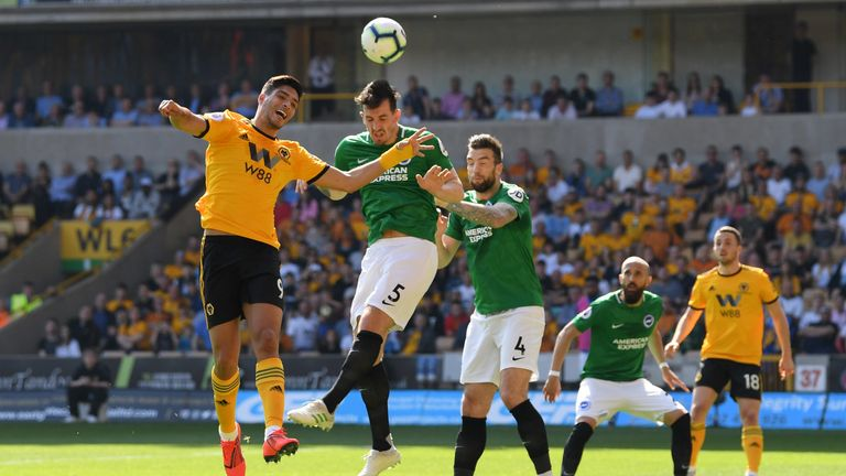 Lewis Dunk rises to head clear as Wolves were left frustrated by Brighton