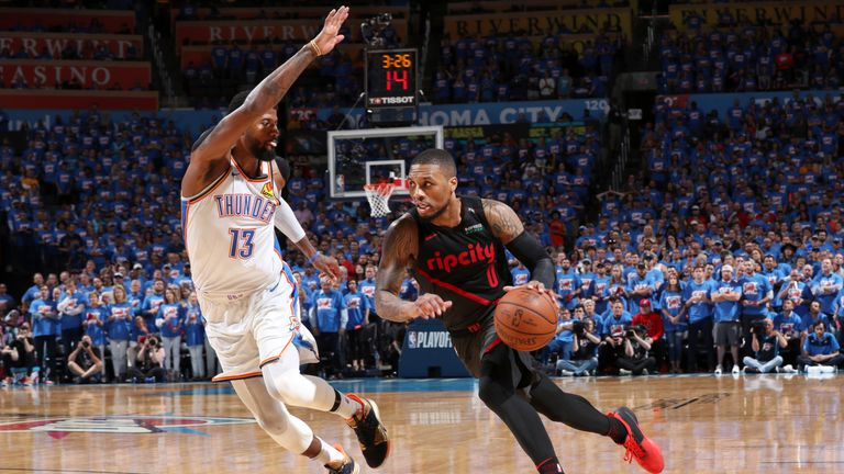 Damian Lillard of the Portland Trail Blazers drives to the basket against the Oklahoma City Thunder during Game Four of Round One of the 2019 NBA Playoffs