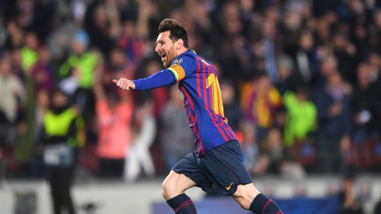 Lionel Messi scored twice against Manchester United in a 3-0 quarter-final second leg victory in the Nou Camp