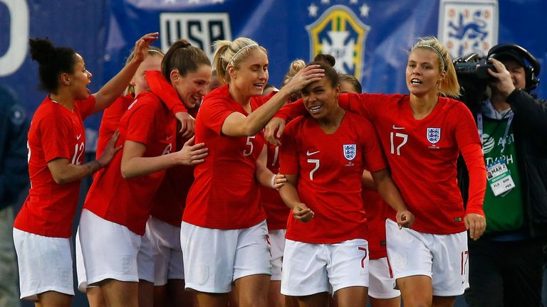 Nikita Parris is congratulated by teammates Rachel Daley and Steph Houghton after scoring against the United States in the 2019 SheBelieves Cup