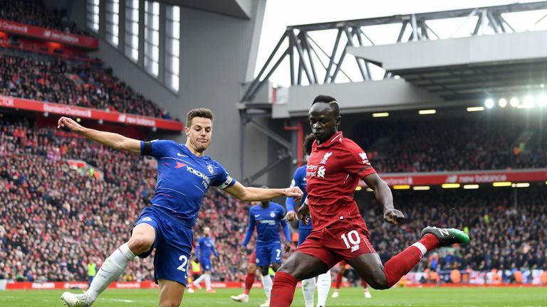 Sadio Mane 's opening goal at Anfield saw a flare thrown into Chelsea supporters