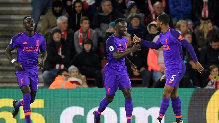 Naby Keita (left) celebrates Liverpool's equaliser at St Mary's, but should the goal have been ruled out for offside?