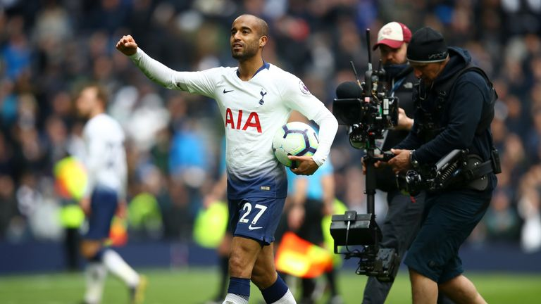 Lucas Moura scored a hat-trick as Spurs beat Huddersfield on Saturday to move up to third in the Premier League