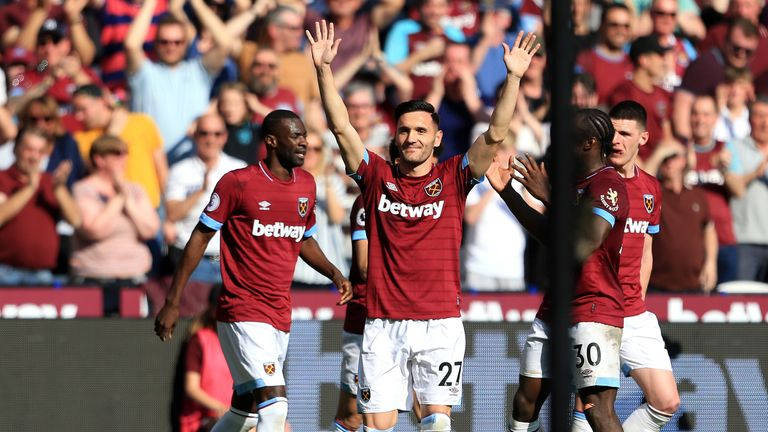 Lucas Perez celebrates after restoring West Ham's lead at home to Leicester