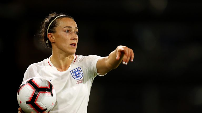 Lucy Bronze of England Women in action during the International Friendly match between England Women and Australia at Craven Cottage on October 9, 2018 in London, England