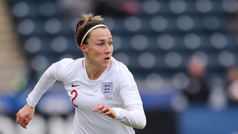 Lucy Bronze #2 of England takes the ball in the first half against Brazil at Talen Energy Stadium on February 27, 2019 in Chester, Pennsylvania.