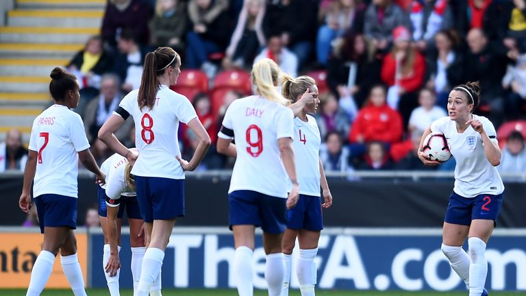 Lucy Bronze of England (2) reacts towards team mates during the International Friendly match between England Women and Sweden Women at The New York Stadium on November 11, 2018 in Rotherham, England.