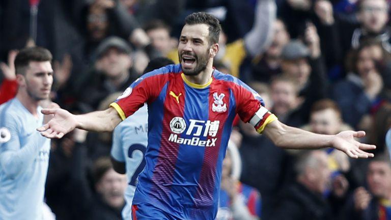 Luka Milivojevic celebrates scoring for Crystal Palace