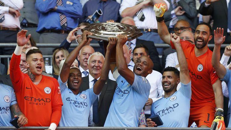 Manchester City celebrate winning the Community Shield