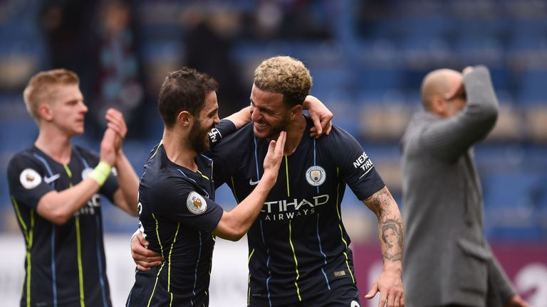The full-time whistle sparked big celebrations for Manchester City's players, with their side now two wins from the title
