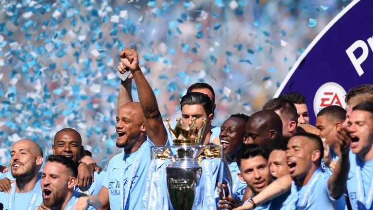 Manchester City celebrate winning the 2017-18 Premier League title