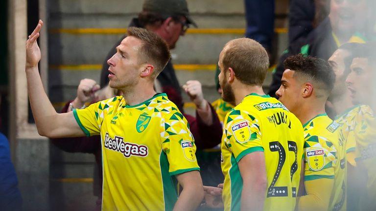 Norwich City's Marco Stiepermann celebrates scoring his side's first goal against Blackburn
