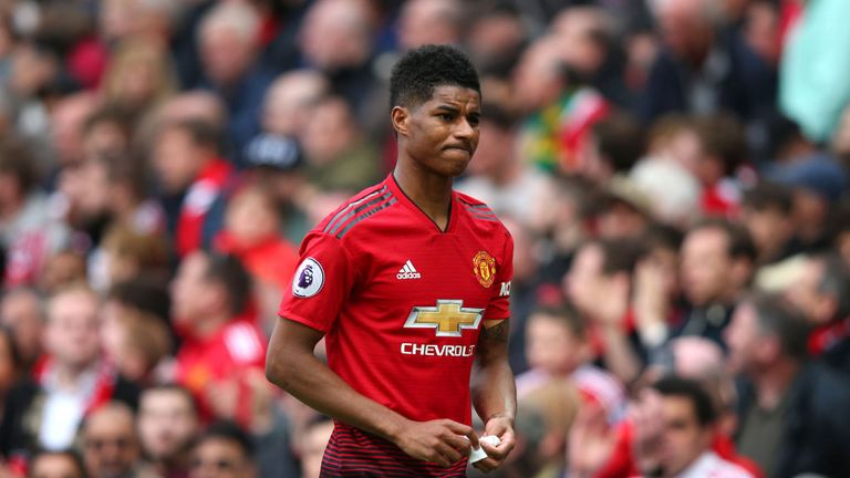 Marcus Rashford was forced off in the second half