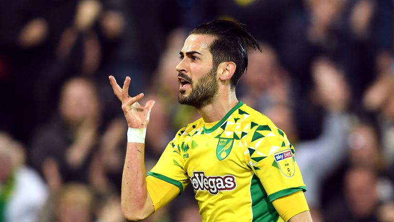 Norwich City's Mario Vrancic celebrates scoring his side's second goal of the game during the Sky Bet Championship match vs Sheffield Wednesday at Carrow Road, Norwich.
