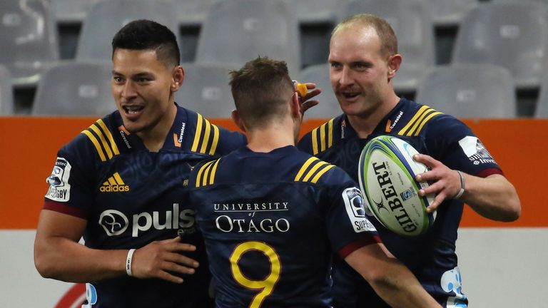 Matt Faddes celebrates his try during the Super Rugby match against the Blues