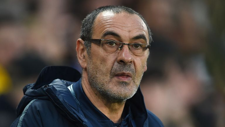 Maurizio Sarri, Manager of Chelsea looks on prior to the UEFA Europa League Quarter Final Second Leg match between Chelsea and Slavia Praha at Stamford Bridge on April 18, 2019 in London, England.