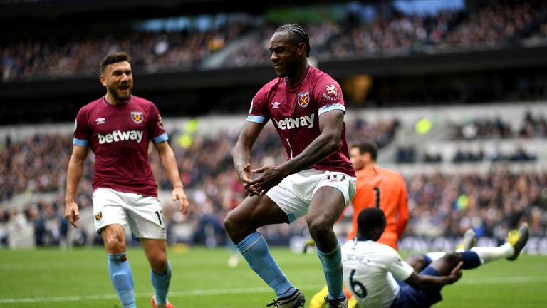 Michail Antonio celebrates after scoring the opening goal of the game