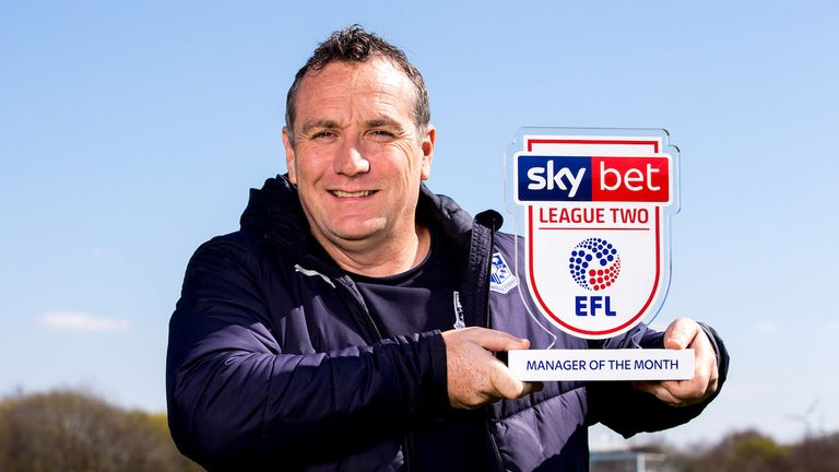 Tranmere boss Micky Mellon is the Sky Bet League Two manager of the Month for March