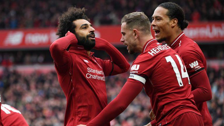 Mohamed Salah celebrates scoring against Chelsea