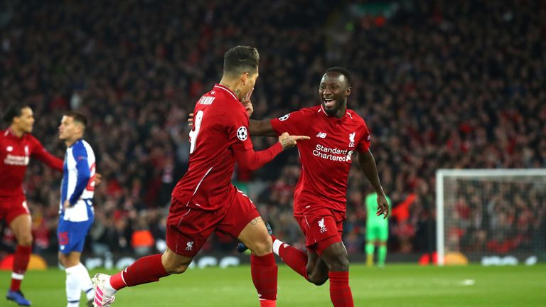 Naby Keita scored his first goal at Anfield as a Liverpool player