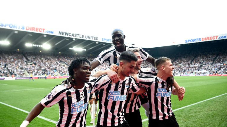 Newcastle celebrate following Ayoze Perez's third goal in their win over Southampton.