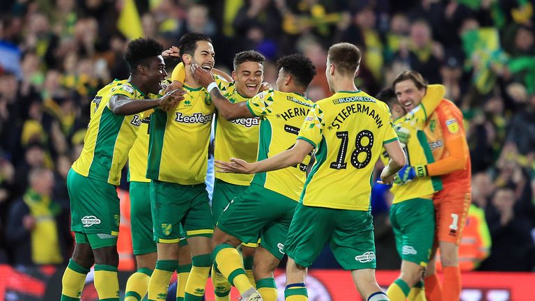 Norwich City players celebrate at full time as they secure promotion to the Premier League following their victory in the Sky Bet Championship match between Norwich City and Blackburn Rovers at Carrow Road on April 27, 2019 in Norwich, England.