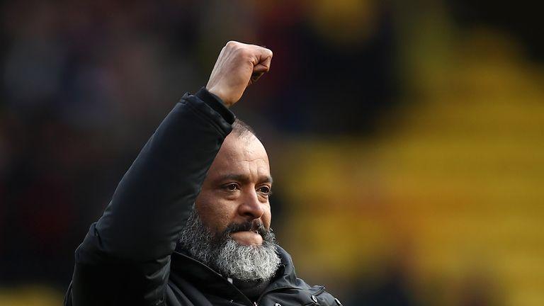 Nuno Espirito Santo celebrates the 2-1 win over Watford
