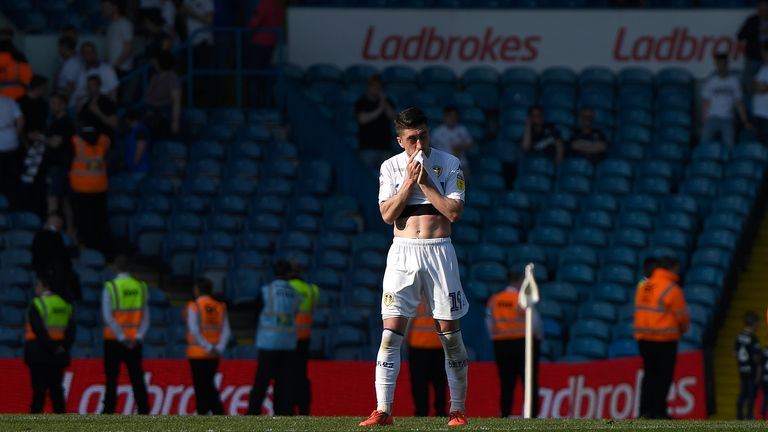 Pablo Hernandez stands dejected following Leeds' 2-1 defeat to 10-man Wigan in April