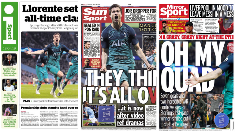 Papers react to Spurs win - April 18
