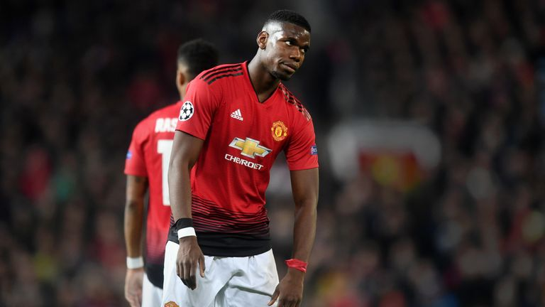 Paul Pogba reacts during the UEFA Champions League Quarter Final first leg match between Manchester United and FC Barcelona
