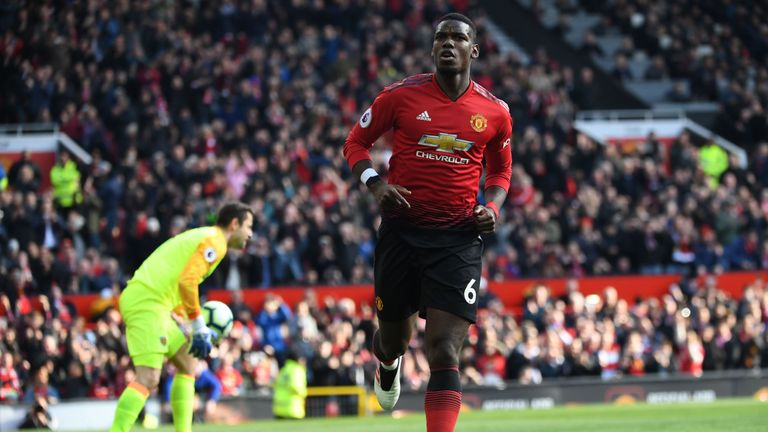 Paul Pogba celebrates after giving Manchester United a 1-0 lead