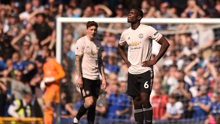 Paul Pogba looks dejected during Manchester United's defeat at Everton