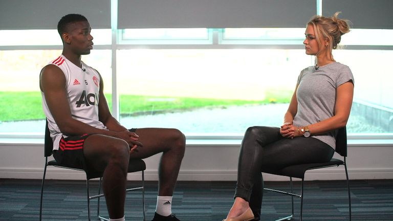 Pogba talks to Laura Woods ahead of Wednesday's Manchester derby