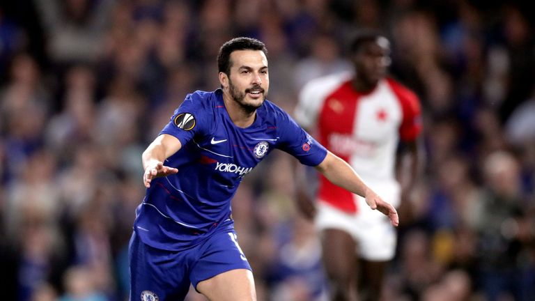Chelsea's Pedro celebrates scoring his side's fourth goal of the game during the UEFA Europa League quarter final second leg match at Stamford Bridge, London.