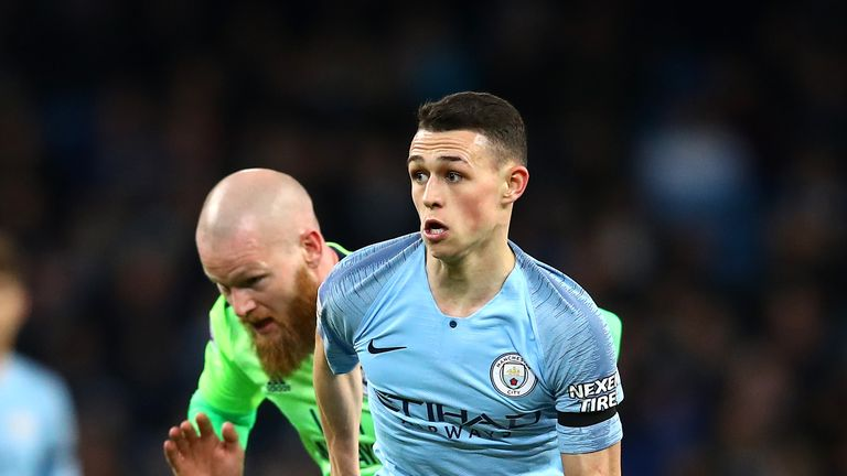 Phil Foden in action for Manchester City against Cardiff at the Etihad Stadium