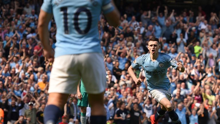 Phil Foden celebrates after scoring the only goal of the game at the Etihad